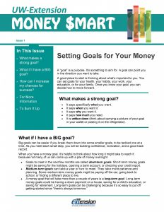 Money Smart newsletter: Setting Goals for Your Money