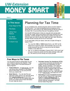 Money Smart newsletter: Planning for Tax Time