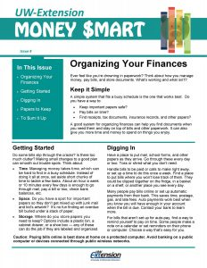 Money Smart newletter: Organizing your Finances