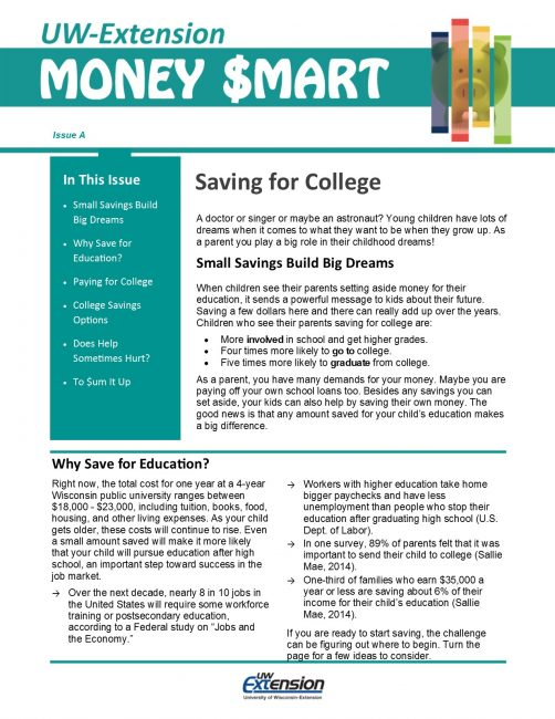 Money Smart Newsletter issue A, Saving for College