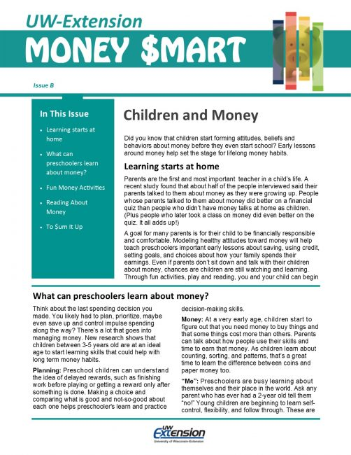 Money Smart Newsletter issue B, Children and Money