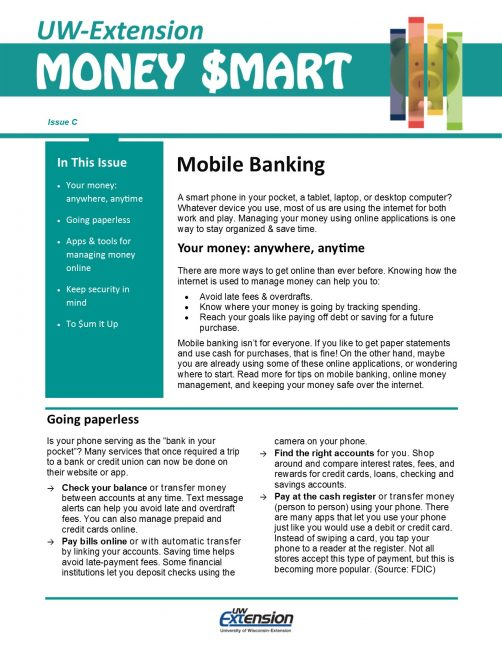 Money Smart Newsletter issue C, Moblile Banking