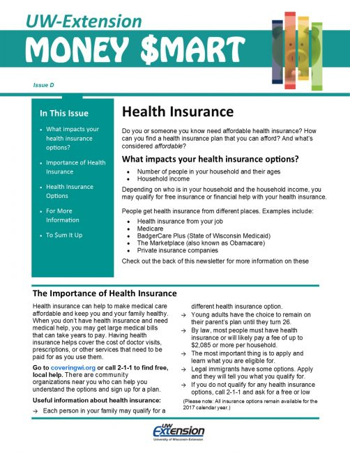 Money Smart Newsletter issue D, Health Insurance