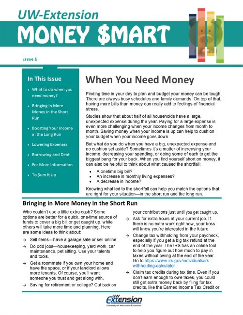Money Smart Newsletter issue E, When You Need Money