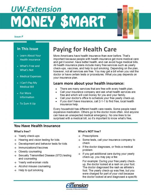 Money Smart Newsletter issue F, Paying for Health Care