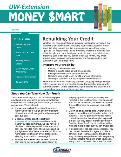 Money Smart Newsletter issue G, Rebuilding Your Credit