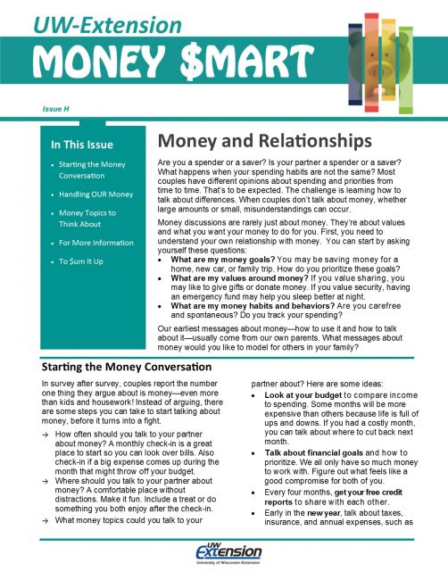 Money Smart Newsletter Issue H, Money and Relationships