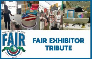 Washington County Fair, Fair Exhibitor Tribute, with photos of girl with pig, decorated cakes, children with goats, and display of artwork