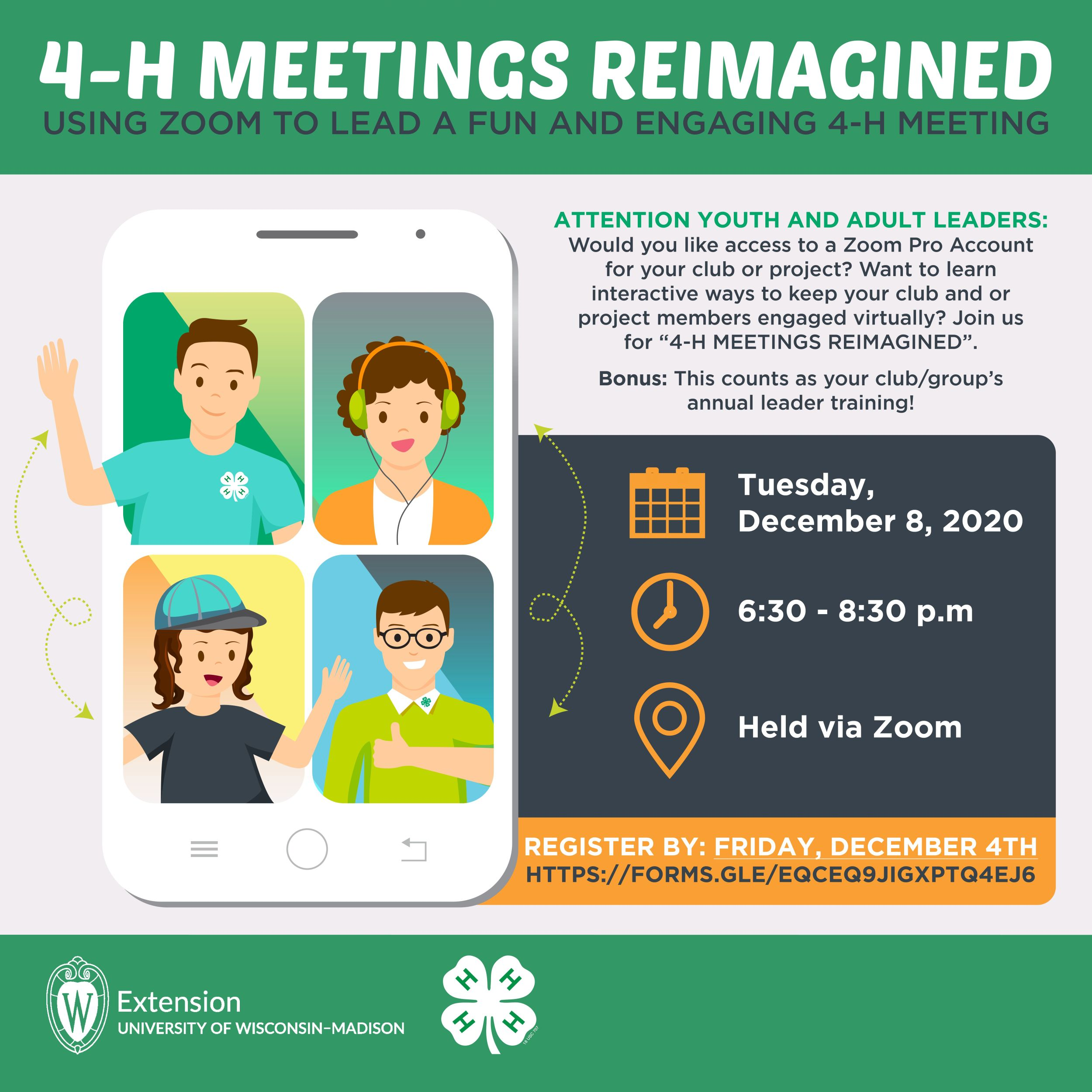 4-H Meetings Reimagined: Tuesday, Dec 8, 2020 at 6:30pm