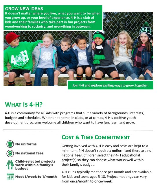 front page of 4-H brochure