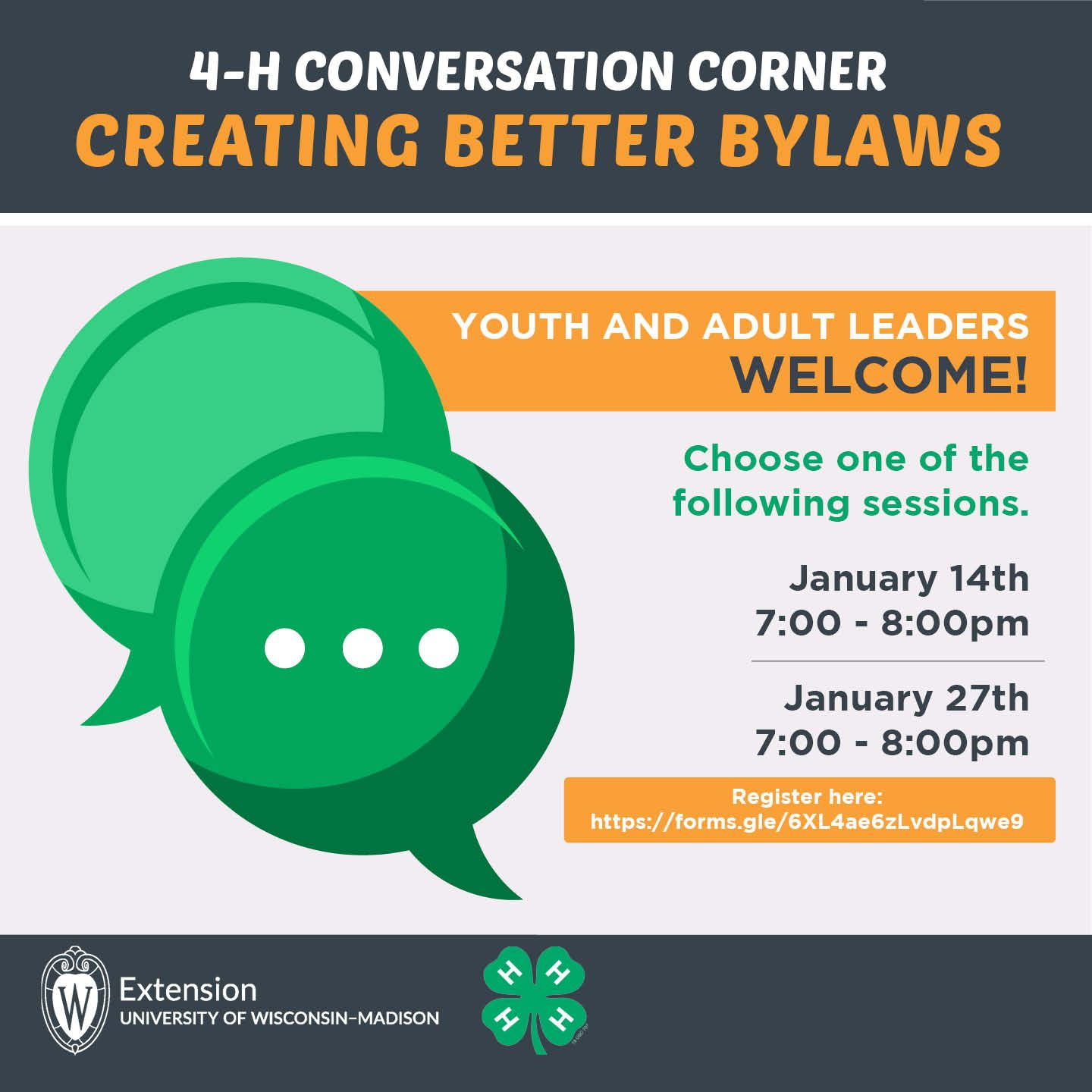 4-H Conversation Corner: Creating better bylaws. Youth and Ault Leaders Welcome! Choose one of the following sessions: Jan 14 or Jan 27, 7-8pm. Register: https://forms.gle/6XL4ae6zLvdpLqwe9