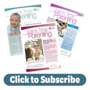 Three example issue of Just in Time Parenting, Text: Click to Subscribe