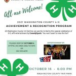Extension UNIVERSITY OF WISCONSIN-MADISON All are Welcome! 2021 WASHINGTON COUNTY 4-H ACHIEVEMENT & RECOGNITION PROGRAM All Washington County 4-H families are warmly invited to this special celebration of 4-H, with entertainment by ComedySportz. You won't want to miss the fun!! PLEASE RSVP BY OCTOBER 6 HTTPS://GO.WISC.EDU/1A1NP2 OR 262-335-4478 OCTOBER 16 - 6:00 PM WASHINGTON COUNTY FAIR PARK 3000 PLEASANT VALLEY RD. WEST BEND An EEO/AA employer, University of Wisconsin-Madison Division of Extension provides equal opportunities in employment and programming, including Title VI, Title IX, the Americans with Disabilities Act (ADA) and Section 504 of the Rehabilitation Act requirements.